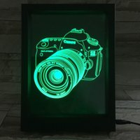 3D Camera LED Photo Frame IR Remote 7 RGB Lights AAA Battery ou DC 5V Factory Wholesale Dropship Frete grátis