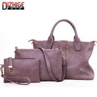 Wholesale Ladies Office Totes - Wholesale- 3 Pcs Set Vintage Handbags Women Messenger Bags Female Purse Solid Shoulder Bags Office Lady Casual PU Leather Handbags Sac