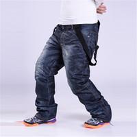 Wholesale Men Jean Trousers - Wholesale- Plus size S-3XL Denim suspenders for Ski pants men waterproof snow pants Ski trousers thick warm Breathable jean snowboard pants