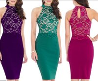 Sexy Halter Bodycon Pack Up Hip Women Lace Dresses Knee-Lenght Hot Elegant Lady Pencil Dress для Club and Party Occassion ec-028