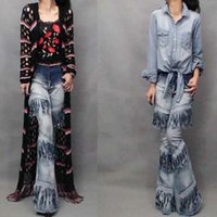 Wholesale Fashion Womens Denim Pants Tassel Tiered Panelled Washed Long Flare Jeans