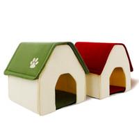 konut paketi toptan satış-Köpek Evi Kırmızı ve Yeşil Hayvan Kulübesi Yeni Tasarım Almak kolay ve Paketlenmiş Yavru Kedi Odası Komik Yüksek Kalite Yatak Ücretsiz kargo