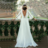 Wholesale Open Back Summer - Lace Bohemian Chiffon Summer Wedding Dresses Scoop Neck Open Back Bell Sleeves Hippie Style Ceremony Boho Chic Bridal Dress