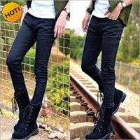 Hot Style Boys Slim Fit Jeans Adolescents Denim mince Solid Casual Cheap Bottines noires Cuffed Strech Handsome Harem pencil Pants 28-34