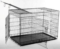 """Wholesale Wood Outdoor Dog House - New 36"""" 3 Doors Folding Dog Crate Cage Kennel Metal Pan"""