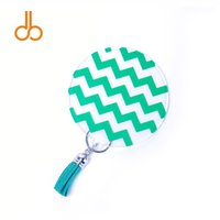 Acrilico Chevron Key Fob all'ingrosso Blanks Round Bag Charmer con fibbie in metallo davanti e nappa 7 colori DOM106763