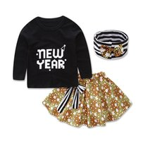 Wholesale Leopard Outfits For Babies - Baby Girls NEW YEAR printing 3pc sets Striped Headband Long sleeve T shirt Dots Skirt Children Girls Casual Outfits 4sizes for 1-3T