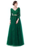 Wholesale Sleeved V Neck Lace Dress - SSYFashion 2017 New Luxury Green Lace Evening Dress The Bride Banquet A-line Long Sleeved Backless Party Gown Custom Prom Dress