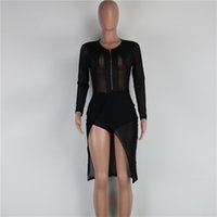 Wholesale Skirt Woman Fashion Korea - Korea Fashion Womens Party Dresses Sexy Black Mesh Look Through Ladies Club Dresses Tiered Irregular Skirts for Women