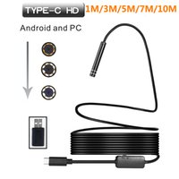 Wholesale 7mm wire - Hard Soft Wire 1m 3m 5m 10m 7mm Type-c Endoscope Camera For Type c Smartphone Inspection Camera Snake Flexible Borescope Camera