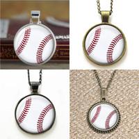 pulseras de bolas collares al por mayor-10 unids Baseball Ball Sports collar keyring bookmark gemelos pulsera del pendiente