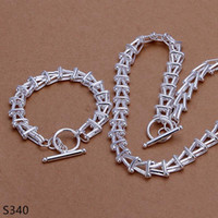 Wholesale Jewelry Cheap Prices China - hot men's sterling silver jewelry sets,cheap fashion 925 silver Necklace Bracelet jewelry set 7 same price mix style GTS2a