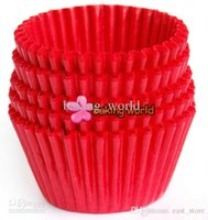 Wholesale Plain Cupcake Papers - 500pcs lot Plain Red Round greaseproof paper Cup cake tray Cupcake case High temperature baking cup Home Party diverse colorful Party
