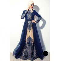 Wholesale Embroidered Beaded Tulle - High quality Navy Blue Muslim Evening Dress In Dubai Arabia hijab long sleeves formal gown beaded crystal embroidered prom dress