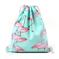 Wholesale Wholesale Fresh Shoes - Wholesale- VSEN Hot Bag for Girls School Shoes Flamingos Shoes Bags Cotton Travel Shoulders Backpack Drawstring Storage Bags (Blue bird)