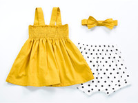Wholesale Cute Kinds - INS styles Hot sell Super cute summer girls Dress 100% Cotton Big bow two kinds of putting on sling dress girl elegant dress 2-7T