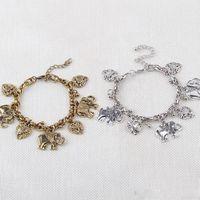 Wholesale Peach Bead Set - Fashion Retro Elephant Bracelet For Women Peach Heart Charms Link Bracelets Bangles Holiday Gift Charms animal Jewelry