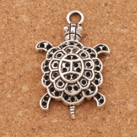 tortues de mer achat en gros de-Animal 3D tortue de mer tortue en alliage charmes 100 pcs / lot pendentif en argent tibétain 34 mm L1181 bijoux bricolage