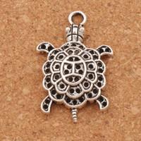 ingrosso tibetan turtle charm-Ciondolo in lega di tartaruga animale 3D tartaruga marina 100pcs / lot Ciondolo in argento tibetano 34mm L1181 Gioielli fai da te