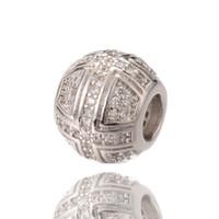 Wholesale Wholesale Bulk Jewelry Supplies - Bulk Sale Zircon Micro Pave Beads Large Hole Beads DIY Jewelry Supplies ICPD046 Size 9.4*11.2mm