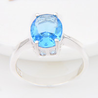 Wholesale Topaz Costume Jewelry - New Arrival Special Offer Real Cluster Rings Bohemian Women Special Design Xmas Gift Costume Jewelry Rings Ocean Blue Topaz 925 Silver