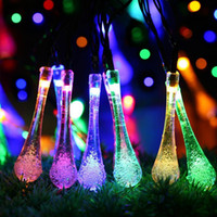 Wholesale Copper Plug Power - 5M 30LED Led String Lights Water Drop Christmas Light Plug-In Powered String Copper Wire Lights Christmas Decorations 2 Color Styles