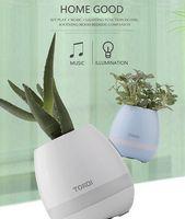 Wholesale Color Plastic Vases - 2017 Original Creative Music Vase Smart Music Pots Plant Intelligent Touch Wireless Bluetooth Speaker Smart Factory Piano Music Color LED Ni