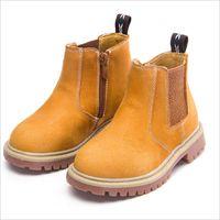 ingrosso abiti gialli per i bambini-Kids Autumn Baby Boys Oxford Scarpe per bambini Dress Boots Ragazze Fashion Martin Boots Toddler pelle bovina Boots Black Yellows Blue EU21-37