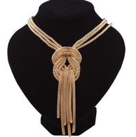 Wholesale y shape - Gold Y Shape Choker Necklace Retro Luxury Snake Twist Chain Tassel Statement Necklaces For Women Men Jewelry Wholesale