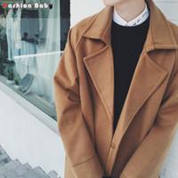 winter men s trench coat großhandel-Großhandels- Lose Männer fiel Schulter  lange Woolen gemischt 8c8ff60aa3