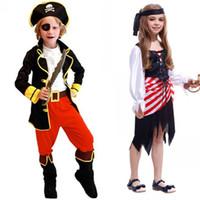 Wholesale Child Pirate Costumes - Q228 kids boys pirate costumes cosplay costumes for boys halloween cosplay costumes for kids children cosplay Girl costumes