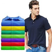 Wholesale Mens Silk Shorts - 2017 mens brand clothing slim short sleeve shirt lapel business male polo shirt high quality cotton men polo camisa polo shirts