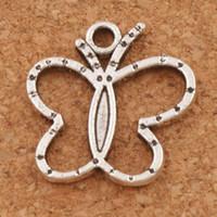 Wholesale Butterfly Silver Necklace - Open Butterfly Charms Pendants 200pcs lot 19x19.2mm Antique Silver Fit Bracelets Necklace Earrings L1125 Hot sell
