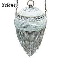 Wholesale Tassel Beading - Wholesale- 2016 fashion beading globe ball shape evening bags silver tassel clutch bags wedding bridal mini party bags elegant purses 467t