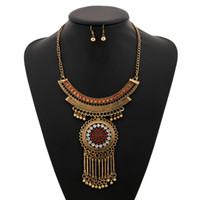 Wholesale Diamante Flower Earrings - Bohemian Style Design Women Fashion Charm Jewelry Diamante Handmade Long Tassel Statement Link Chain Choker Necklace Earrings Set