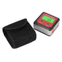 Wholesale Inclinometer Angle Finder - 4x90 degree Digital LCD Angle Angle Finder Protractor Inclinometer Bevel Level Box Base Storage Bag BI734