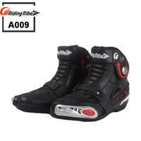 Wholesale White Motorcycle Race Boots - New Motorcycle short Boots Riding Tribe SPEED Moto Racing Motocross Motorbike boots Black White Red A009 shoes