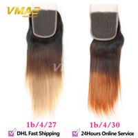 düz saça düz 1b 27 toptan satış-Frontal Brezilyalı Düz Dantel Kapatma Brezilyalı Ombre Kapatma 1b 4 27 Modern Göster Saç Düz İnsan Saç Kapatma Ombre