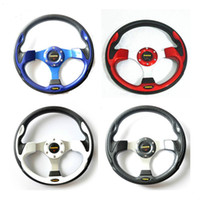 Wholesale momo race - Free Shipping 13 Inch MOMO Racing Car PU Modification Mini Drifting Steering Wheel 6Colors