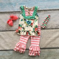 Wholesale Style Necklace Long - summer baby girls outifts floral striped clothes floral boutique outfits ruffle capris sets with matching necklace and bow set