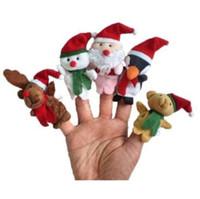 Wholesale Toy Puppets - 5pcs lot Christmas Finger Puppets Plush Toys Cartoon Santa Claus Snowman Hand Puppet Christmas Deer Stuffed Animals CCA8134 100lot