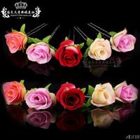 Wholesale Mix Colour Hair - Wholesale 20pcs Lot Mix Colours Rose Flower Women Wedding Bridal Girls Hair Accessories Hair Pins Clips Grip Hair Jewelry