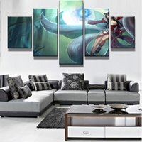 5 Pcs / Set Framed Printed League of Legends The Nine-Tailed Fox Ahri Jogo Poster HD Top-Rated Canvas Print Painting Obras