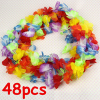 Wholesale Tropical Party Dresses - 48pcs Lei Flower Garlands Necklace Hawaiian Tropical Beach Party Fancy Dress
