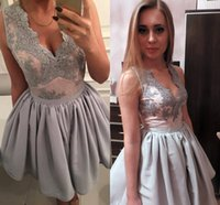 Wholesale Cupcakes Gray - Gray Lace Satin Short Mini Homecoming Dresses V Neck Sleeveless Short Party Dresses Ball Gown Cupcake Prom Dresses