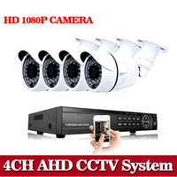 Wholesale Dvr Cctv 4ch Camera - NINI Home 4CH CCTV System AHD DVR 4PCS 1080P AHD 2MP 3000TVL Waterproof Outdoor CCTV Camera Security System Surveillance