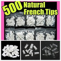 Wholesale Nails False Naturals - Wholesale-Hot Sell DIY 500 Pcs Fake Full Nail Tips White Natural Clear False Gel Art Acrylic Tool