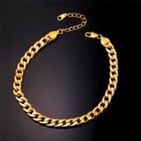 Wholesale Width 7mm - U7 New Hot Arrival Classical Foot Chain Jewelry For Women Men Gold Plated 30cm 7mm Width Cuban Link Chain Anklet Bracelet A328