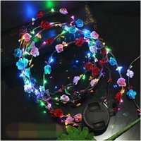 Barato Levou Luzes Piscando Flor-Flashing LED Glow Flower Crown Headbands Light Party Rave Floral Hair Garland Wreath Wedding Flower Girl Headpiece Decor CCA7454 1000pcs