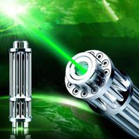 laser verde verde visível venda por atacado-Alta Qualidade 532nm Verde Laser Pointer Pen Torch focusable feixe visível 5 star caps Frete grátis